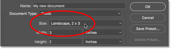 Clicking the Size option in the legacy New Document dialog box. Image © 2016 Steve Patterson, Photoshop Essentials.com
