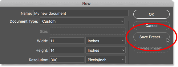 Clicking the Save Preset button in the legacy New Document dialog box.