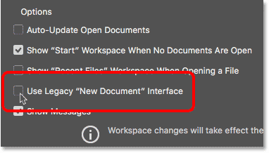 Unchecking the Use Legacy New Document Interface option in the General Preferences. Image © 2016 Steve Patterson, Photoshop Essentials.com