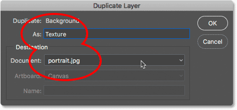 Choosing the Duplicate Layer command from under the Layer menu in Photoshop.