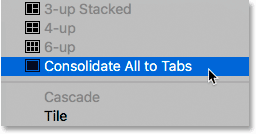 Choosing the Consolidate All to Tabs command in Photoshop.