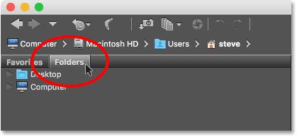 Opening the Folders panel in Adobe Bridge CC.