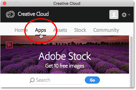 Choosing the App category in the Creative Cloud app.