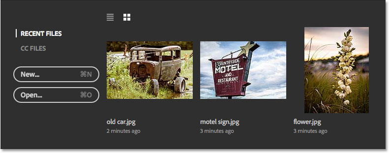 All three images now appear in the Recent Files area. Image © 2016 Steve Patterson, Photoshop Essentials.com