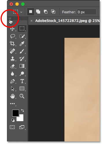 Switching between a single and double-column layout for the Toolbar in Photoshop.