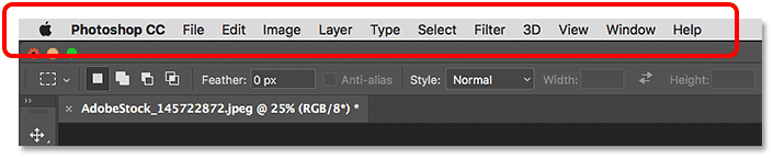 The Menu Bar in the Photoshop interface.