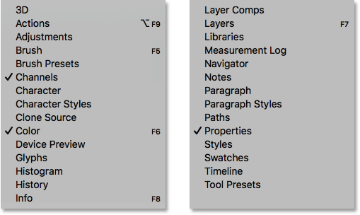 The Window menu showing the complete list of Photoshop panels.
