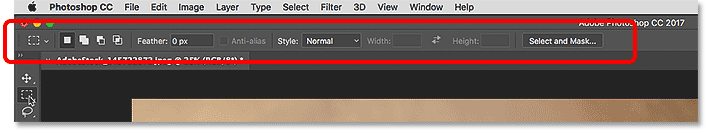 The Options Bar in the Photoshop interface.