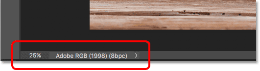 The document's current zoom level and the Status Bar in Photoshop.