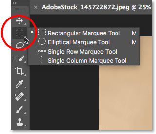 The Toolbar in Photoshop nests several tools in each spot.