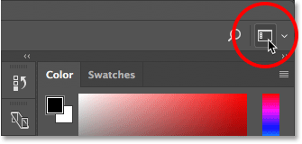 The Workspace selector icon in Photoshop CC.