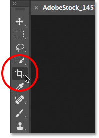 Selecting the Crop Tool from the Toolbar in Photoshop.