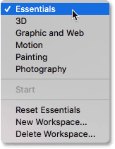 The workspace selection menu in Photoshop.