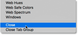 Selecting the Close command from the Color panel menu.