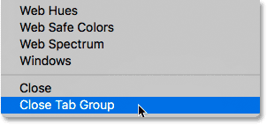 Selecting the Close Tab Group command in Photoshop CS6.