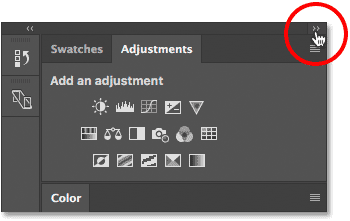Collapsing the main column of panels in Photoshop CS6.