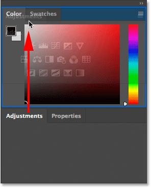 Dragging a panel from one group into another in Photoshop.