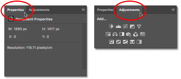 Switching between panels in the panel group in Photoshop.