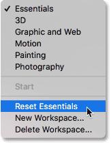 Choosing the Reset Essentials option in Photoshop CC.
