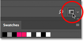 The workspace selection icon in Photoshop.