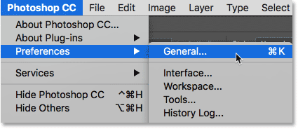 Opening the General Preferences in Photoshop. Image © 2016 Steve Patterson, Photoshop Essentials.com