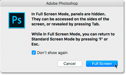 The Full Screen Mode instructions in Photoshop.