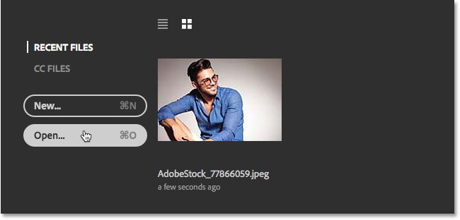 Clicking the Open button to open a second image in Photoshop. Image © 2016 Steve Patterson, Photoshop Essentials.com