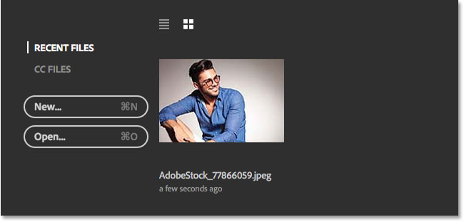 The image appears in the Recent Files list. Image © 2016 Steve Patterson, Photoshop Essentials.com