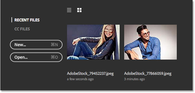 The Recent Files list now showing my last two images. Image © 2016 Steve Patterson, Photoshop Essentials.com