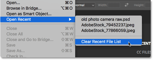 Selecting the Clear Recent File List in Photoshop. Image © 2016 Steve Patterson, Photoshop Essentials.com