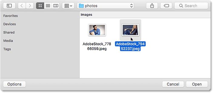 Selecting a different image. Image © 2016 Steve Patterson, Photoshop Essentials.com