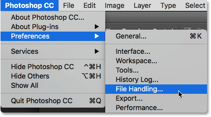 Selecing the File Handing preferences in Photoshop. Image © 2016 Steve Patterson, Photoshop Essentials.com