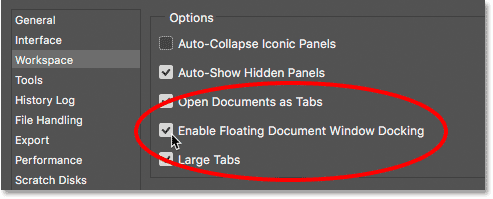 The Enable Floating Document Window Docking option in Photoshop's Preferences.