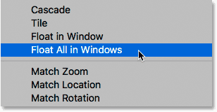 Selecting the Float All in Windows command in Photoshop.