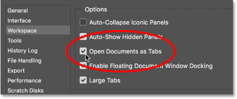 The Open Documents as Tabs option in Photoshop's Preferences.