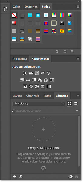 A custom panel layout in Photoshop.