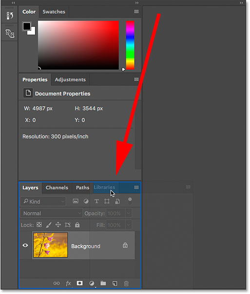 Dragging the Libraries panel into the Layers, Channels and Paths panel group in Photoshop.