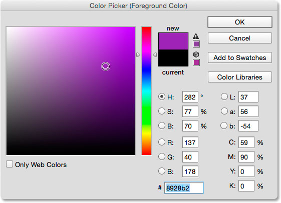 Clicking the Foreground color swatch in the Tools panel.