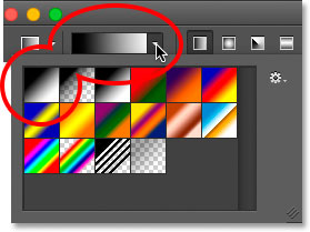 The gradient preview bar and the gradient thumbnail in the Gradient Picker are back to the default colors.