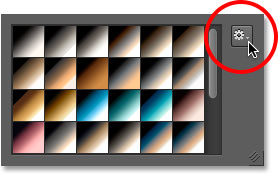 Clicking the gear icon in the Gradient Picker once again.