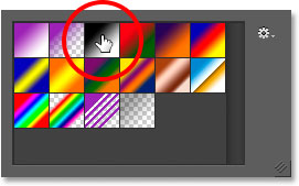 Selecting the Black, White gradient.