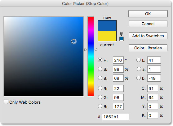 Choosing a third color for the gradient.