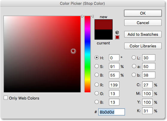 Choosing red from the color picker.