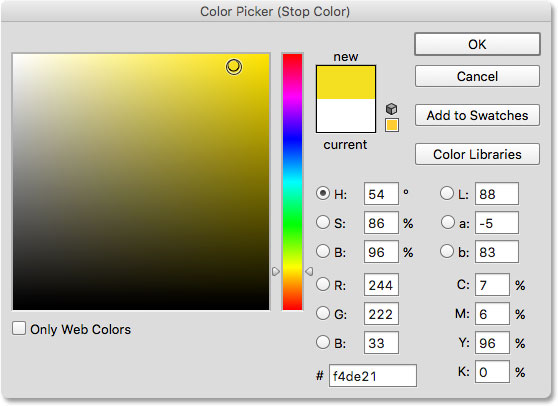 Selecting yellow from the Color Picker.