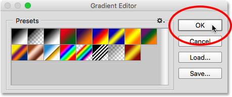 Clicking OK to close the Gradient Editor.