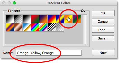 Clicking on a thumbnail to select a preset gradient.