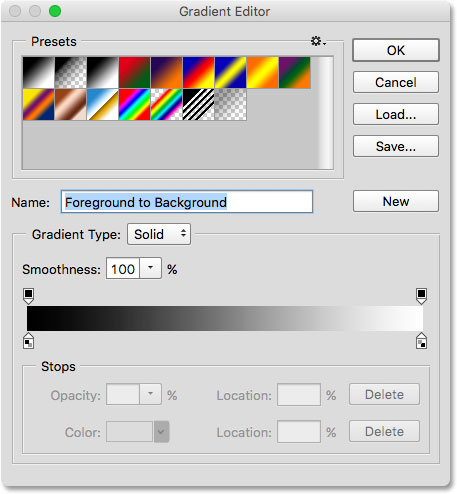 The Gradient Editor in Photoshop.