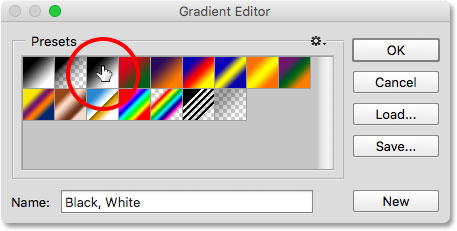 Choosing the Black, White gradient in the Gradient Editor.