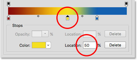 Moving a color by entering a new Location value.