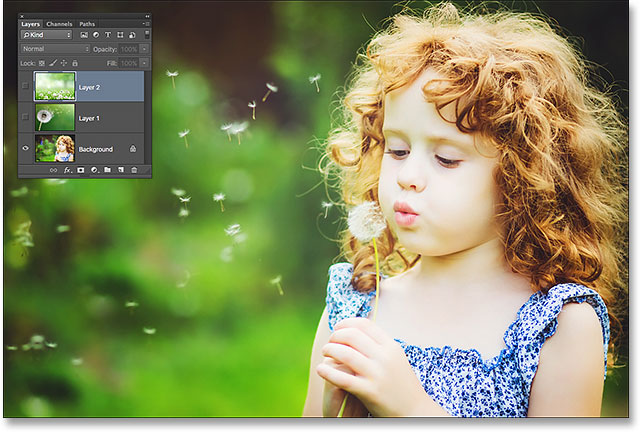 The photo on the Background layer. Image © 2015 Steve Patterson, Photoshop Essentials.com
